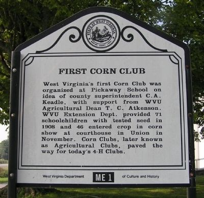 First Corn Club Marker image. Click for full size.