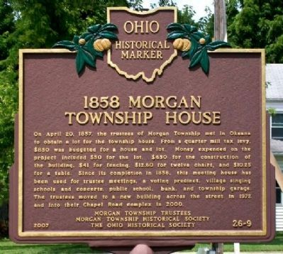 1858 Morgan Township House Marker (Side A) image. Click for full size.