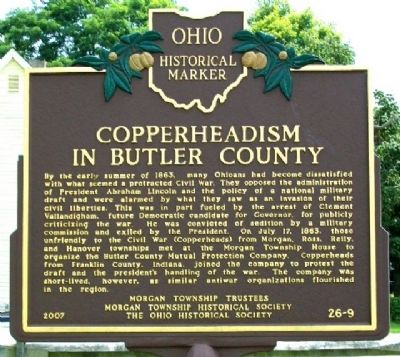 Copperheadism in Butler County Marker (Side B) image. Click for full size.
