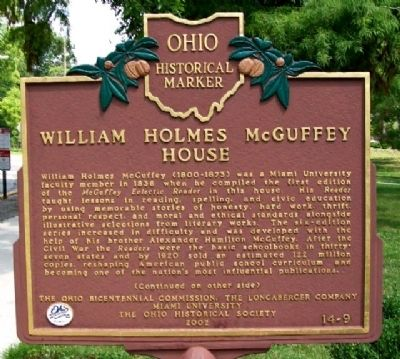 William Holmes McGuffey House Marker (Side A) image. Click for full size.