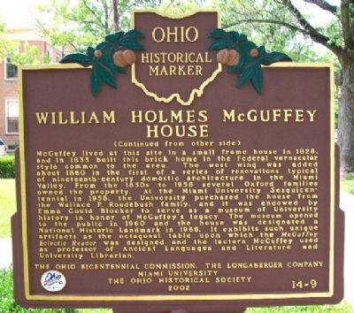 William Holmes McGuffey House Marker (Side B) image. Click for full size.
