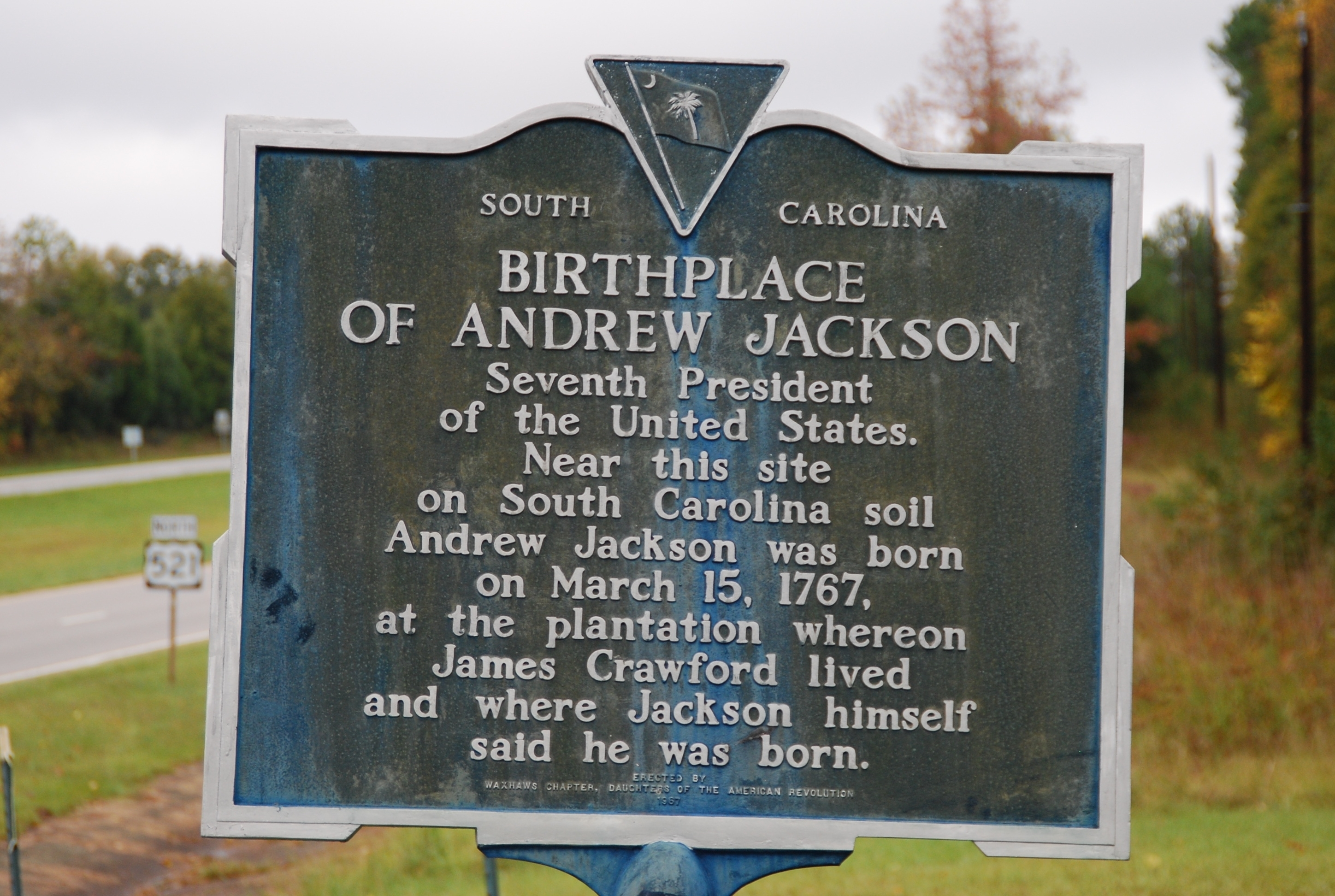 Birthplace of Andrew Jackson Marker