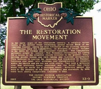 The Restoration Movement Marker (Side A) image. Click for full size.