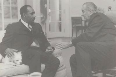 Clarence Mitchell, Jr. and President Lyndon B. Johnson image. Click for full size.
