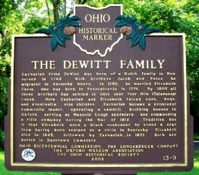 The DeWitt Family Marker (Side A) image. Click for full size.