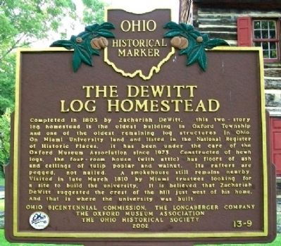 The DeWitt Log Homestead Marker (Side B) image. Click for full size.