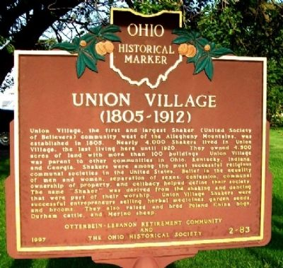 Union Village Marker (Side A) image. Click for full size.
