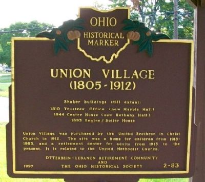 Union Village Marker (Side B) image. Click for full size.