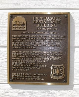 J & T Basque Restaurant Building Marker image. Click for full size.