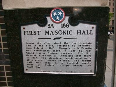First Masonic Hall Marker image. Click for full size.
