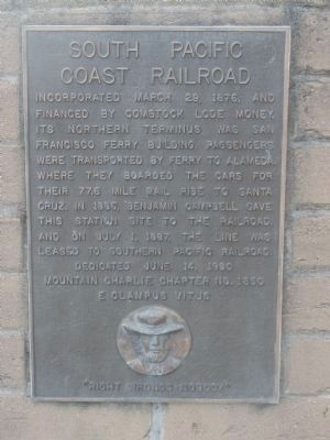 South Pacific Coast Railroad Marker image. Click for full size.