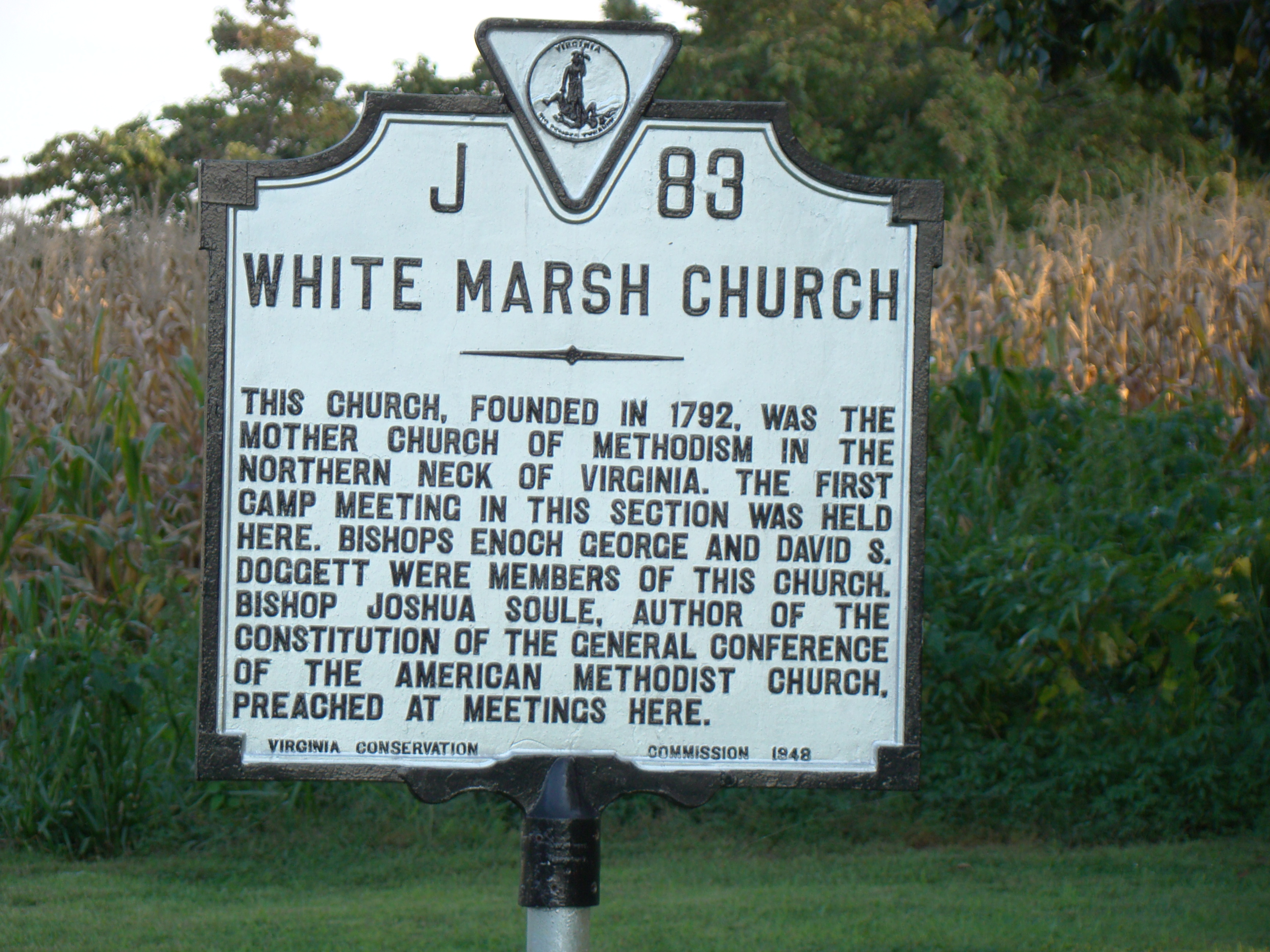 White Marsh Church Marker