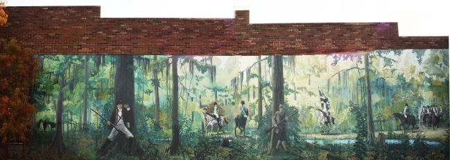 Swamp Fox at Ox Swamp Marker, far lower left, and Mural image, Touch for more information
