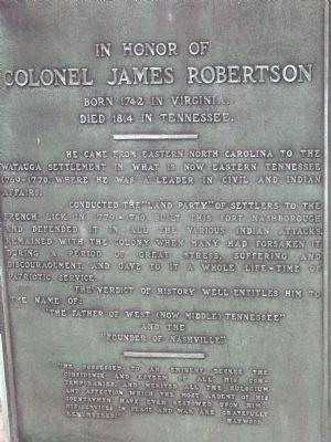 Colonel James Robertson Marker image. Click for full size.