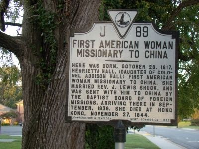 First American Woman Missionary to China Marker image. Click for full size.
