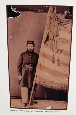 Close-up Photo - - ' Martin Mohrle ' Color Bearer Corporal, 20th Illinois image. Click for full size.