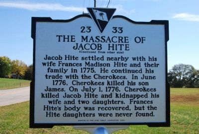 The Massacre of Jacob Hite Marker image. Click for full size.