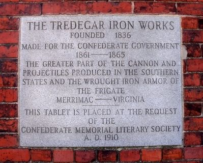 The Tredegar Iron Works Marker image. Click for full size.