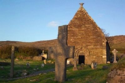 Kilmalkedar Church Ogham Stone (left) and Stone Cross image. Click for full size.