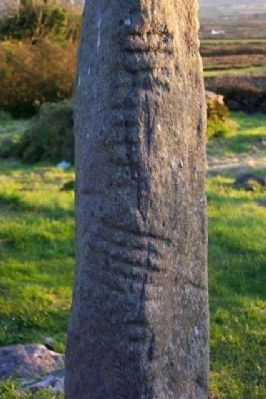 Kilmalkedar Church Ogham Stone Markings image. Click for full size.
