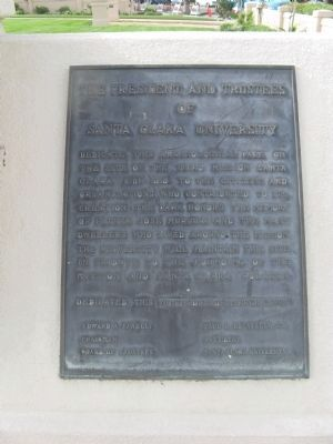 The President and Trustees of Santa Clara University Dedication Plaque image. Click for full size.