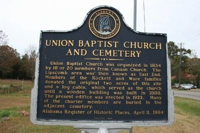Union Baptist Church And Cemetery Marker image. Click for full size.