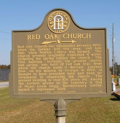 Red Oak Church Marker image. Click for full size.
