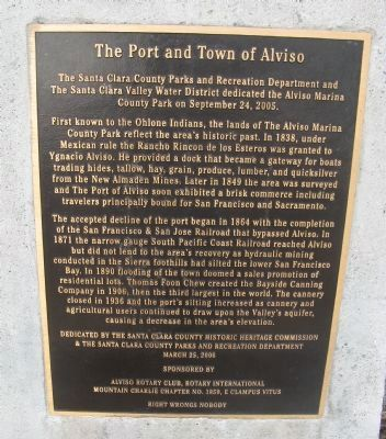 The Port and Town of Alviso Marker image. Click for full size.