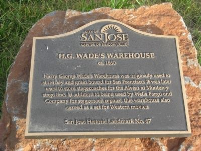 H.G. Wade's Warehouse Marker image. Click for full size.
