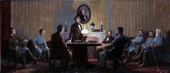 The Last Council of War Meeting of Confederate President Jefferson Davis with his Military Advisors image. Click for full size.