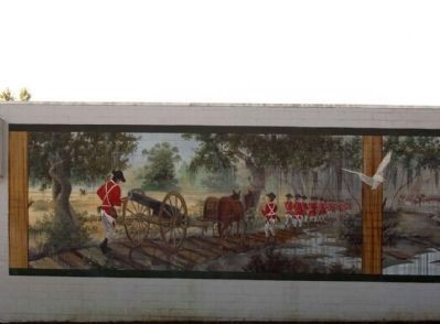 Battle of Wyboo Swamp Mural left panel image. Click for full size.