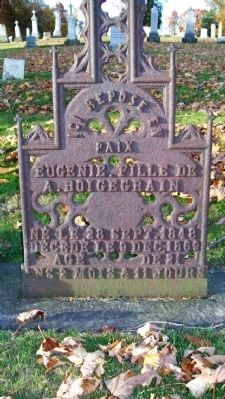 Eugenie Boigegrain Grave Marker in French image. Click for full size.