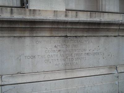 On this site in Federal Hall Marker image. Click for full size.