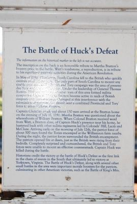 The Battle of Huck's Defeat Marker image. Click for full size.