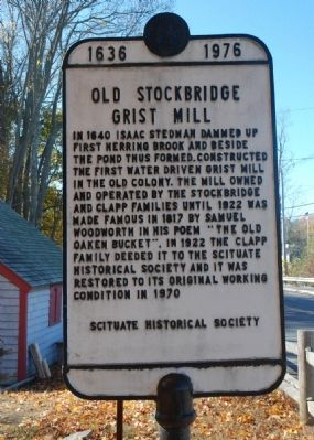 Old Stockbridge Grist Mill Marker image. Click for full size.