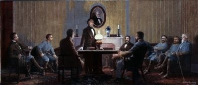 The Last Council of War Meeting of Confederate President Jefferson Davis with his Military Advisors image. Click for more information.