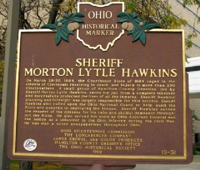 Sheriff Morton Lytle Hawkins Marker (Side B) image. Click for full size.