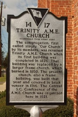 Trinity A.M.E. Church reverse text image. Click for full size.