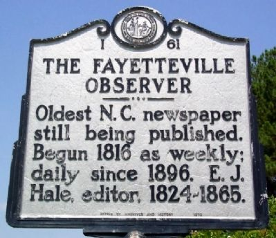 The Fayetteville Observer Marker image. Click for full size.