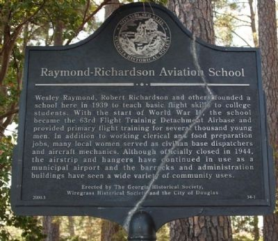 Raymond-Richardson Aviation School Marker image. Click for full size.