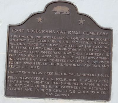 Fort Rosecrans National Cemetery Marker image. Click for full size.