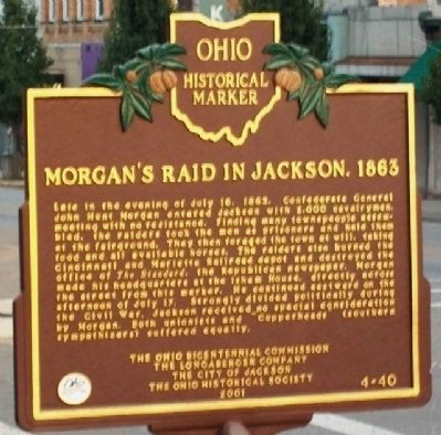 Morgan's Raid in Jackson, 1863 Marker (Side B) image. Click for full size.