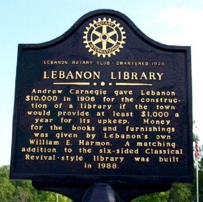 Lebanon Library Marker (Side A) image. Click for full size.