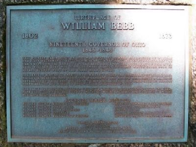 Birthplace of William Bebb Marker image. Click for full size.