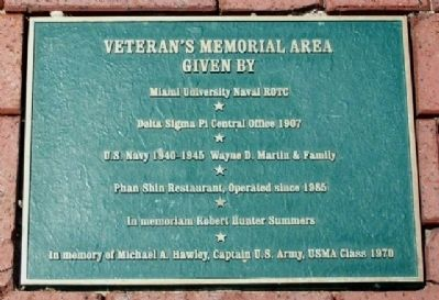 Oxford Veterans Memorial Area Marker image. Click for full size.