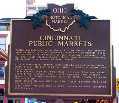 Cincinnati Public Markets Marker (Side A) image. Click for full size.