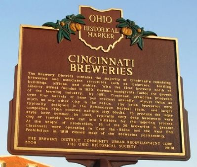 Cincinnati Breweries Marker (Side A) image. Click for full size.