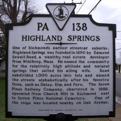 Highland Springs Marker image. Click for full size.