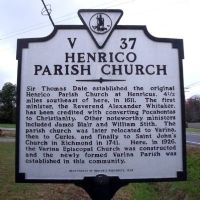 Henrico Parish Church Marker image. Click for full size.