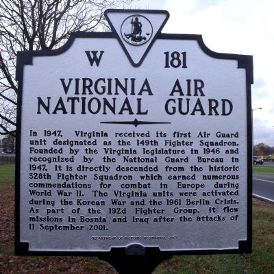 Virginia Air National Guard Marker image. Click for full size.